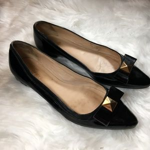Kate Spade Black Patent Leather Gold Bow Flats